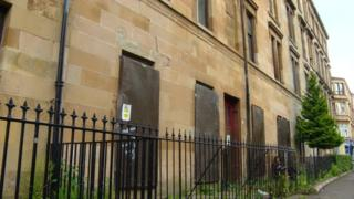 Boarded up homes in Govanhill