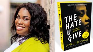 Angie Thomas and the book jacket for The Hate U Give