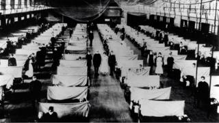 Image shows warehouses that were converted to keep the infected people quarantined. The patients are suffering from the 1918 Influenza pandemic, a total of 50-100 million people were killed. Dated 1918 (Photo by: Universal History Archive/UIG via Getty Images)