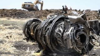Debris of the crashed airplane of Ethiopia Airlines