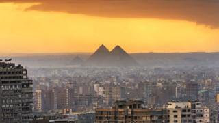 View across Cairo to the pyramids