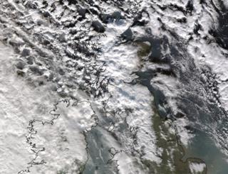 Satellite image of snow across the UK