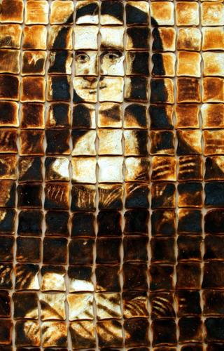Mona Lisa painting made out of toast