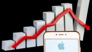 Apple y gráfico que muestra su caída