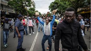 Nigerians protesting in South Africa