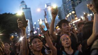 Protesters take part in a rally in Hong Kong - 16 June 2019