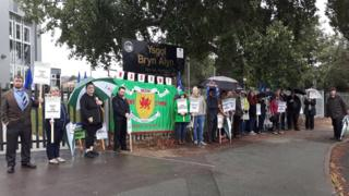 Teachers on strike at Ysgol Bryn Alyn