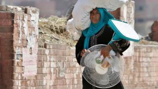An Egyptian farmer carries a fan through a street in Cairo (11 August 2015)