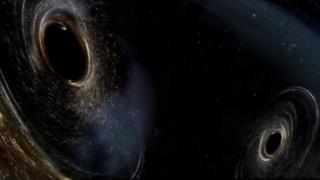 หลุมดำที่กำลังจะชนและรวมตัวกันเป็นหลุมดำขนาดใหญ่ขึ้น