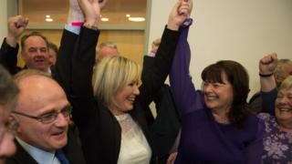 Michelle Gildernew (right) with Michelle O'Neill when she won the Fermanagh South Tyrone Westminster seat in 2017