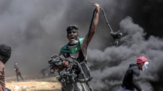 Palestinian protester in Gaza
