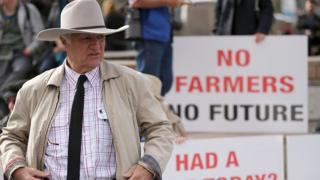 Australian politician Bob Katter at a protest