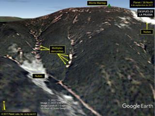 Mapa que muestra derrumbes múltiples tras las pruebas nucleares en Corea del Norte.