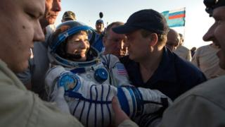 Astronaut Peggy Whitson shortly after landing