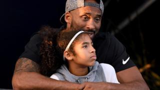 Kobe Bryant and daughter Gianna Bryant at the Woollett Aquatics Center in Irvine, California