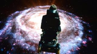 Professor Stephen Hawking superimposed onto an image of a galaxy from Monty Python's tour in 2014