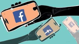 Celulares com ícone do Facebook