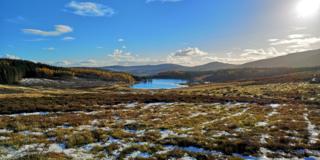 View over Auchintaple Loch in Glenisla