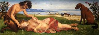 """""""Muerte de Procris"""" o """"Un sátiro se apiada de la muerte de una ninfa"""" de Piero di Cosimo, circa 1495 © The National Gallery, London"""