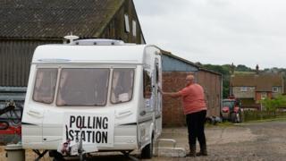 莱斯特郡Garthorpe一处以旅行车充当的投票站(8/6/2017)