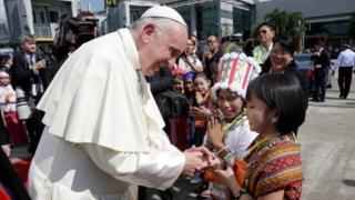 Pope Francis arrives at Yangon International Airport, Myanmar on 27 November 2017.