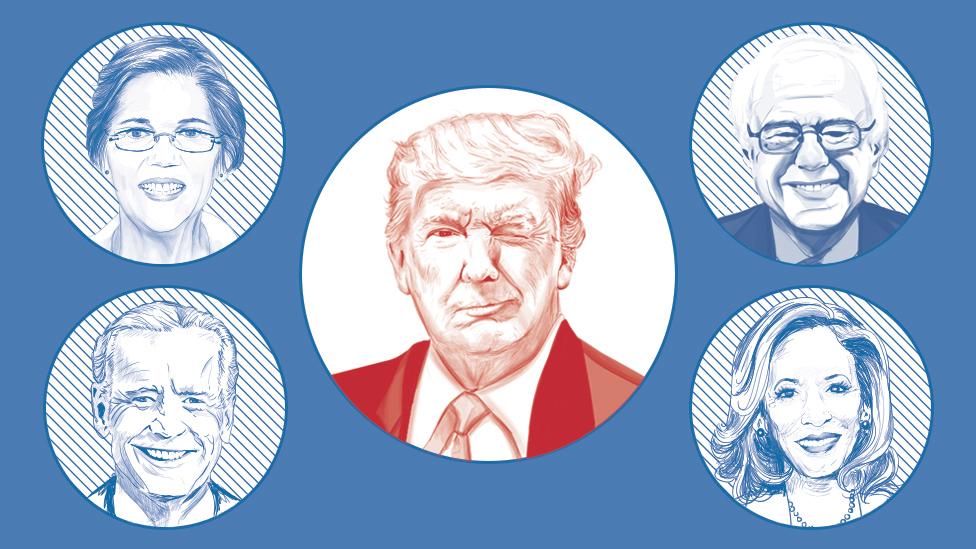 Image showing Donald Trump winking at possible Democratic challengers Elizabeth Warren, Bernie Sanders, Kamala Harris and Joe Biden.