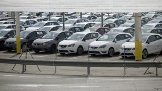 Seat cars in factory in Spain