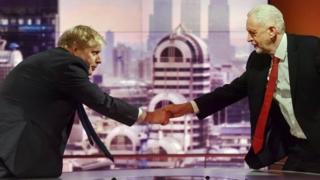 Boris Johnson and Jeremy Corbyn shake hands on the Andrew Marr Show in 2018