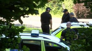 Police on Caerphilly Mountain Road