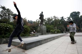 Skateboarders in Hanoi, 23 January