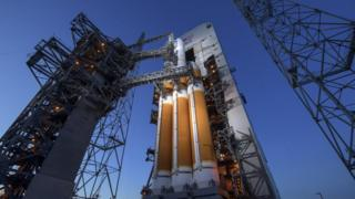 Nasa's United Launch Alliance Delta IV Heavy rocket with the Parker Solar Probe onboard, 11 August 2018