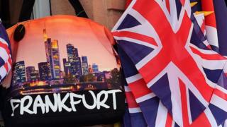 British flags and souvenir bags in a Frankfurt gift shop during the visit by Queen Elizabeth II and Prince Philip to the city on June 25, 2015
