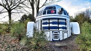 A nuclear shelter air vent turned into a likeness of R2D2 from Star Wars