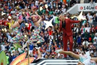 Robbie Williams performing on stage at the 2018 World Cup in Russia opening ceremony