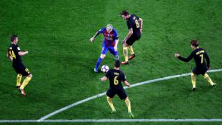 Barcelona's Lionel Messi in action against Atletico Madrid