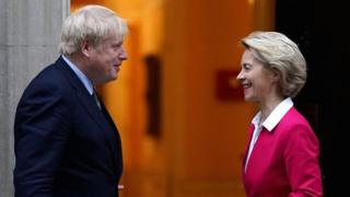 British Prime Minister Boris Johnson meets EU Commission President Ursula von der Leyen at 10 Downing Street, 8 January 2020