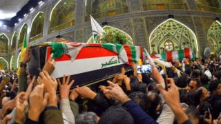 Mourners in Najaf, Iraq, 4 January