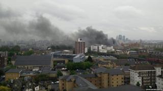 Smoke from the fire spreads across London