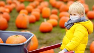 Little boy with mask on in pumpkin patch