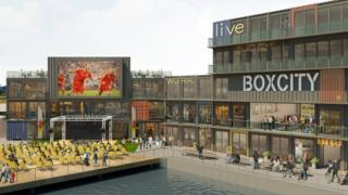 An artist's impression of the box city development in Cardiff Bay