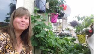 Hana Evans in her balcony garden
