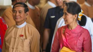 """Myanmar""""s State Counsellor Aung San Suu Kyi and Vice President Win Myint attend a parliament session to elect the country""""s new president, in Naypyitaw"""