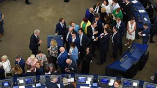 Members of the European Parliament queue to vote in the election of the new president during the first plenary session of the newly elected European Assembly, 3 July 2019