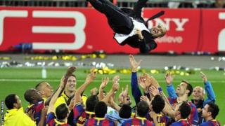 Pep Guardiola. ayaa mar tababare u ahaa Barcelona