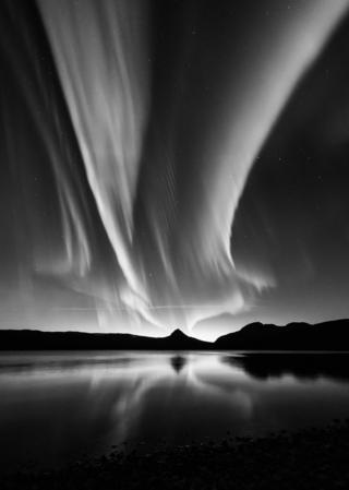 Black and White Aurora by Kolbein Svensson