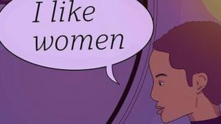 Woman sitting with coffee - speech bubble saying 'I Like Women@