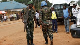 File image of a UN peacekeeper and a Congolese soldier in Beni in North Kivu province, Congo on October 23, 2014