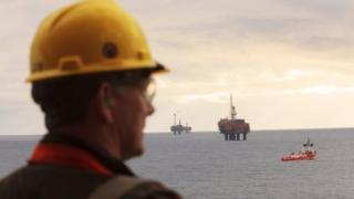 Shell worker at Brent field in North Sea