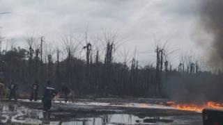 Fire for di pipeline as e dey burn
