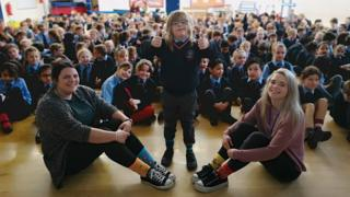 Edward and his school following his assembly.